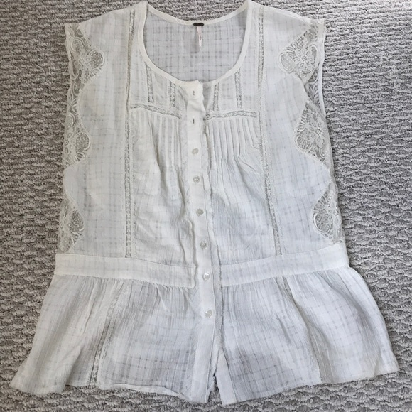 Free People Tops - Free people ivory lace tank